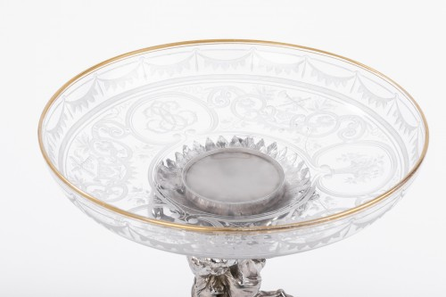 Antique Silver  - CARDEILHAC - Centerpiece in sterling silver crystal cut engraved