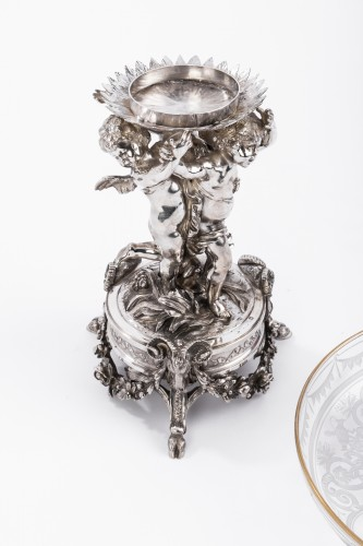 Antiquités - CARDEILHAC - Centerpiece in sterling silver crystal cut engraved