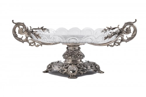 Centerpiece in silver cut crystal Silversmith FERRY