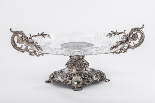 Antique Silver  - Centerpiece in silver cut crystal Silversmith FERRY