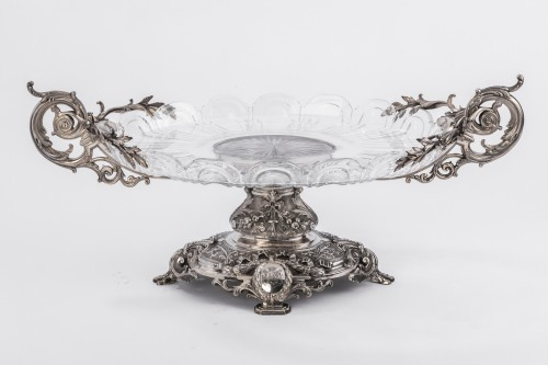 Centerpiece in silver cut crystal Silversmith FERRY -