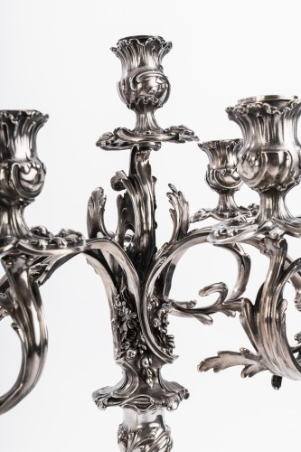 Napoléon III - Harleux silversmith paire of candelabra solid silver