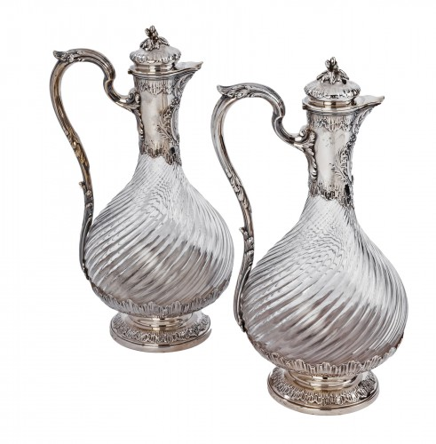 Silversmith BOINTBURET - Pair of ewers in silver and crystal