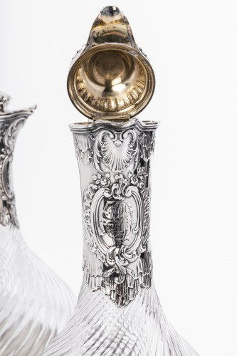 19th century - Boin Taburet - Pair of ewers in silver and crystal