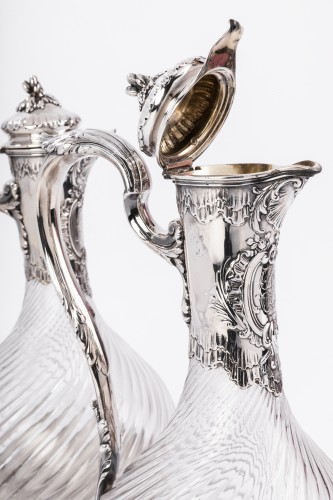 Art nouveau - Boin Taburet - Pair of ewers in silver and crystal