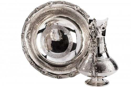 FERRY Silversmith - Ewer and its basin in silver 19th century