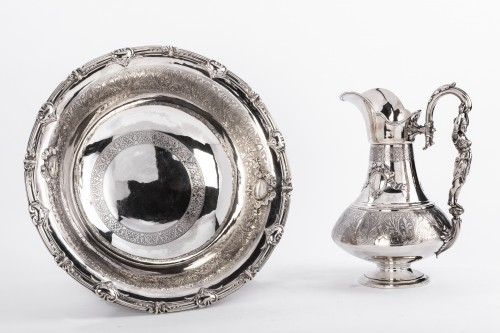 FERRY Silversmith - Ewer and its basin in silver 19th century -