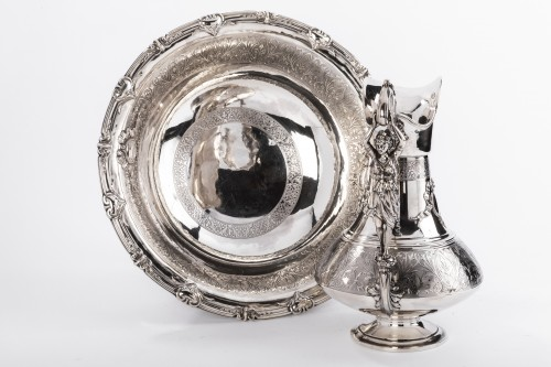 19th century - FERRY Silversmith - Ewer and its basin in silver 19th century