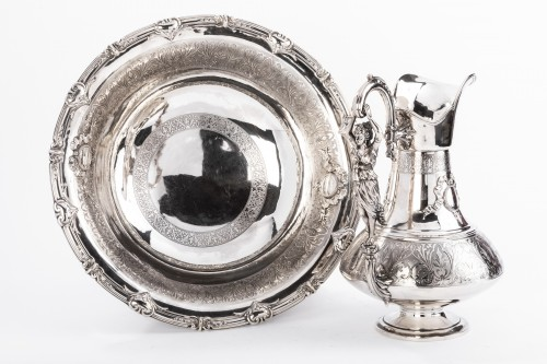 FERRY Silversmith - Ewer and its basin in silver 19th century - Napoléon III