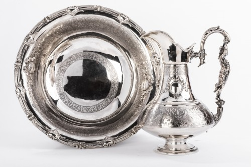 Napoléon III - FERRY Silversmith - Ewer and its basin in silver 19th century