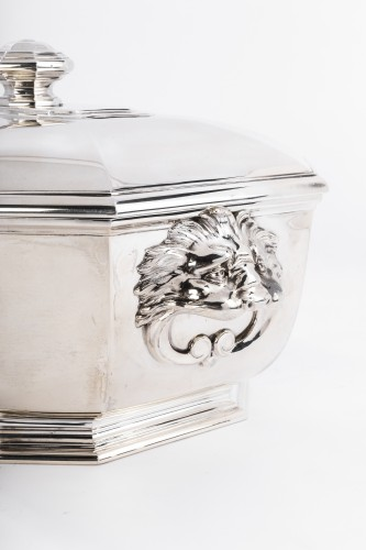 Puiforcat -Soup tureen covered in solid silver - Antique Silver Style Art Déco
