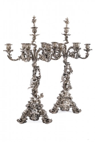Pair of silver bronze candelabra by ELKINGTON and Co