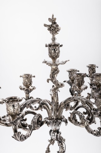 Pair of silver bronze candelabra by ELKINGTON and Co - Antique Silver Style