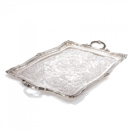 Plateau rectangulaire de style Rocaille solid silver by FRAY silversmith