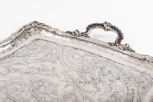 Plateau rectangulaire de style Rocaille solid silver by FRAY silversmith - Antique Silver Style Napoléon III