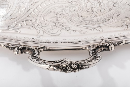 Antique Silver  - Plateau rectangulaire de style Rocaille solid silver by FRAY silversmith