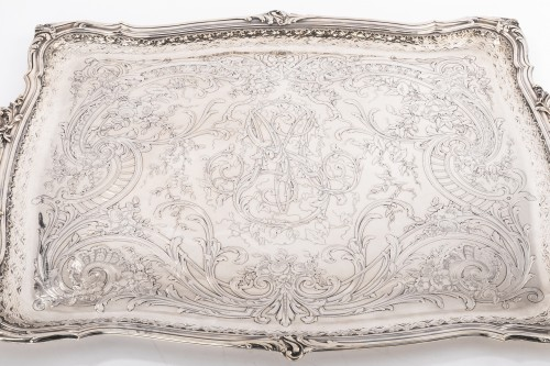 19th century - Plateau rectangulaire de style Rocaille solid silver by FRAY silversmith
