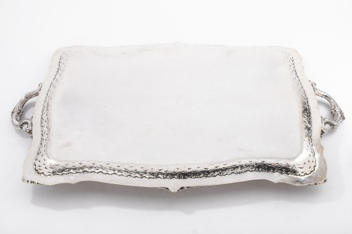 Plateau rectangulaire de style Rocaille solid silver by FRAY silversmith - Napoléon III