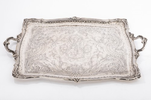 Antiquités - Plateau rectangulaire de style Rocaille solid silver by FRAY silversmith