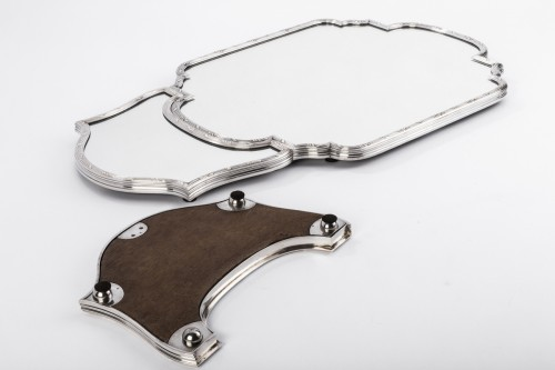 Surtout de table en trois parties bronze argenté début XXè - Antique Silver Style Art nouveau