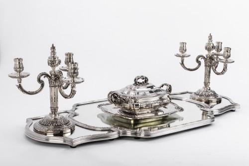 Antiquités - Surtout de table en trois parties bronze argenté début XXè