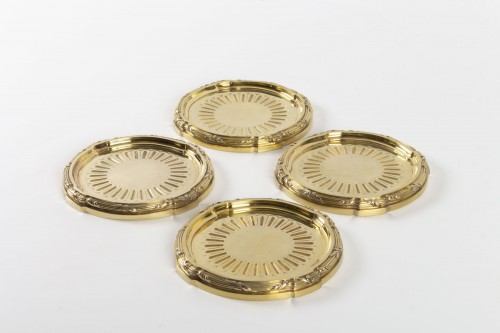 Antique Silver  - Goldsmith A.AUCOC - Suite of four 19th century vermeil coasters