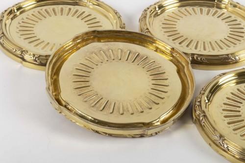 Antiquités - Goldsmith A.AUCOC - Suite of four 19th century vermeil coasters