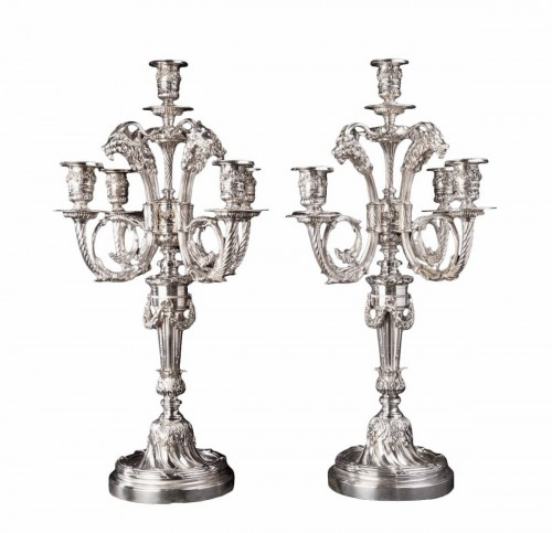 Pair of candelabra in silvered bronze with 5 lights XIXth century