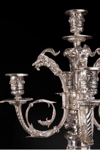 Pair of candelabra in silvered bronze with 5 lights XIXth century - Lighting Style Napoléon III