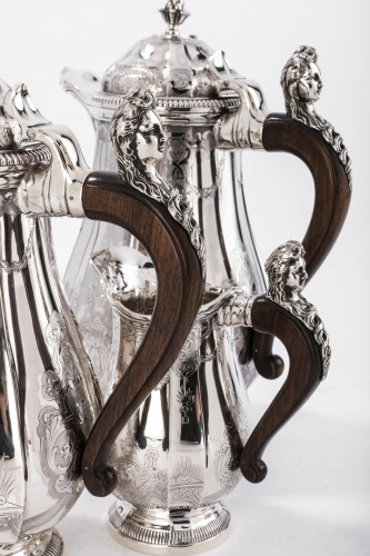 4 pieces silver coffee / chocolate service by PAUL CANAUX - Antique Silver Style Art nouveau