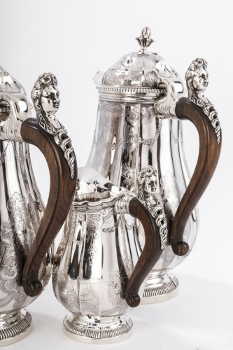 Antique Silver  - 4 pieces silver coffee / chocolate service by PAUL CANAUX