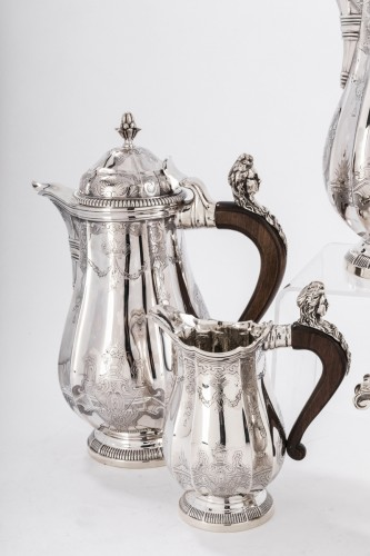 4 pieces silver coffee / chocolate service by PAUL CANAUX -