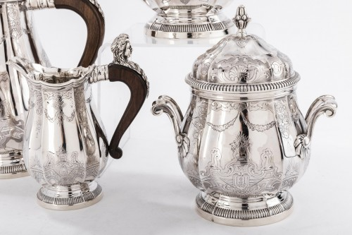 20th century - 4 pieces silver coffee / chocolate service by PAUL CANAUX