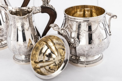 Art nouveau - 4 pieces silver coffee / chocolate service by PAUL CANAUX