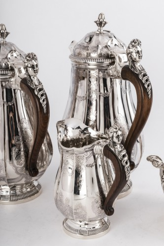 Antiquités - 4 pieces silver coffee / chocolate service by PAUL CANAUX