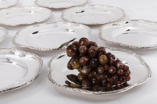 Antiquités - Suite of 12 silver plates by M GAUTHIER 20th century