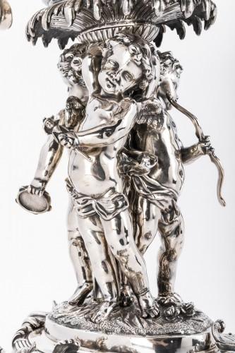 19th century - Centerpiece in silvered bronze by A.FRESNAIS 19th