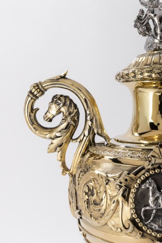19th century - Silver and vermeil racing trophy by DUPONCHEL in 1860