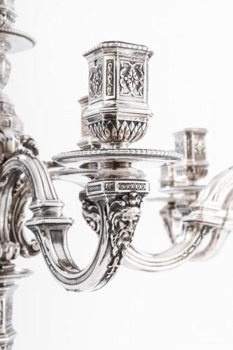 Art nouveau - Puiforcat - Pair of silver candelabras late 19th century