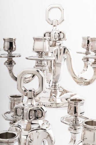 Suite of four silver candelabra by Gustave KELLER Art déco period - Antique Silver Style Art Déco