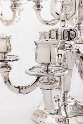 Antique Silver  - Suite of four silver candelabra by Gustave KELLER Art déco period