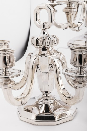 Suite of four silver candelabra by Gustave KELLER Art déco period -