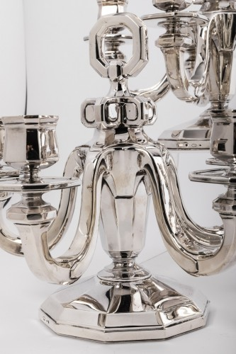 19th century - Suite of four silver candelabra by Gustave KELLER Art déco period