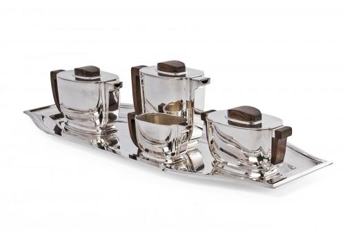 JEAN TETARD 4 pieceS tea / coffee set and silver tray Art deco