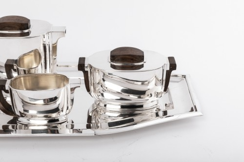 JEAN TETARD 4 pieceS tea / coffee set and silver tray Art deco  - Antique Silver Style Art Déco