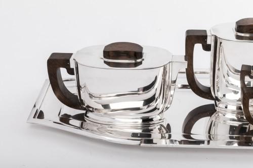 Antique Silver  - JEAN TETARD 4 pieceS tea / coffee set and silver tray Art deco