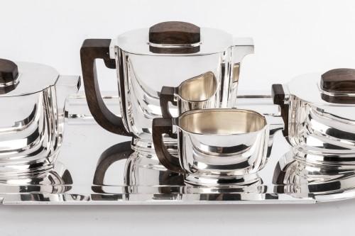 JEAN TETARD 4 pieceS tea / coffee set and silver tray Art deco  -
