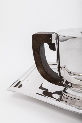 JEAN TETARD 4 pieceS tea / coffee set and silver tray Art deco  - Art Déco
