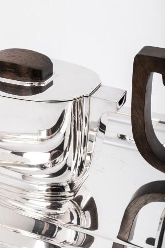 Art Déco - JEAN TETARD 4 pieceS tea / coffee set and silver tray Art deco