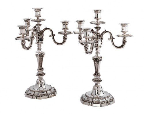 A. AUCOC (1856-1911) Pair of nineteenth solid silver candelabra
